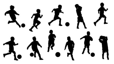 Vector boys in silhouettes playing soccer or football isolated on white