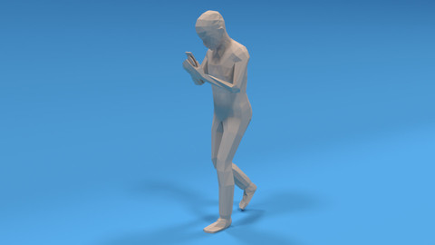 Low Poly Kid Walking With a Mobile Phone
