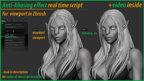 """Anti-Aliasing effect"" real time script for viewport in Zbrush"