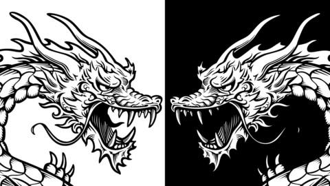 Vector Stylized Dragon - Line Art