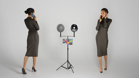 Lady in a midi black dress is talking on the phone 212