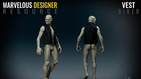 Biker Vest - Marvelous Designer Resource