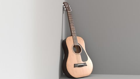 Classical Acoustic Guitar Low Poly (Yamaha F310)