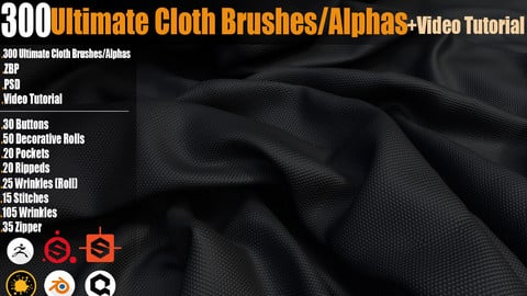 300 Ultimate Cloth BrushesAlphas + Video Tutorial