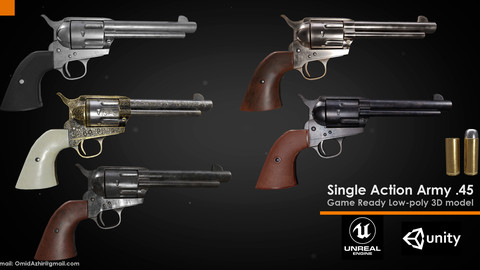 Colt Single actino army .45 - Game ready-low poly model