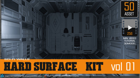 Sci-Fi walls KitBash Pack 50 vol 01+265 min video totorial