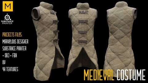 Medieval Costume. Marvelous & Substance projects. FBX & OBJ. 4K Textures.