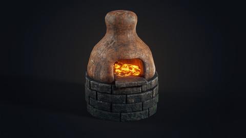Handmade clay oven