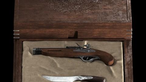 flintlock and knife
