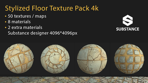 Stylized Floor Texture Pack - Modular 4k  - Unreal Engine 4