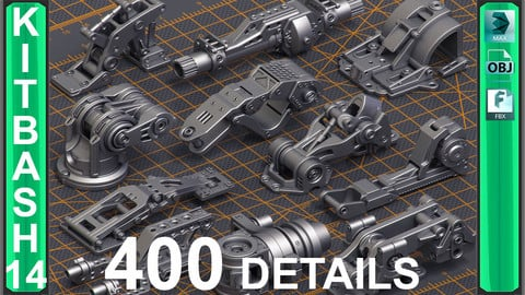 Mega Pack Sci-Fi Hard Surface KITBASH 400 DETAILS