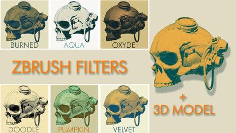 ZBRUSH BPR FILTERS + 3D SKULL