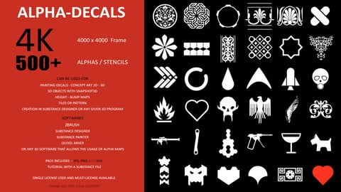 500 ALPHA - STENCILS - PATTERN PACK FOR SUBSTANCE - ZBRUSH - ADOBE - QUIXEL