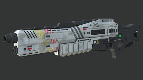 Low-Poly Sci-Fi Shotgun 3D Model