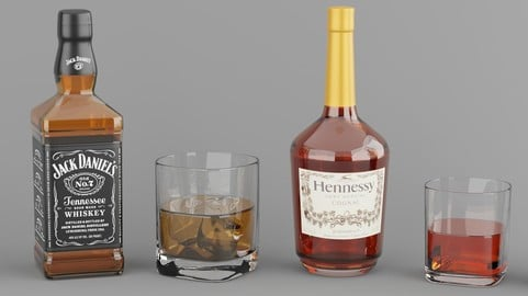 High poly set of 4 bottles with glasses
