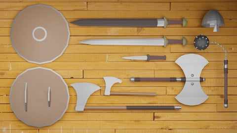 Low poly viking weapons