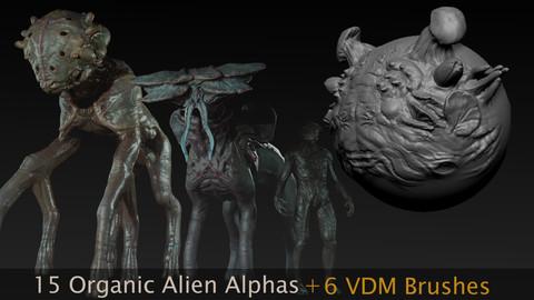 15 Organic Alien Alphas + 6 VDM Brushes for Zbrush