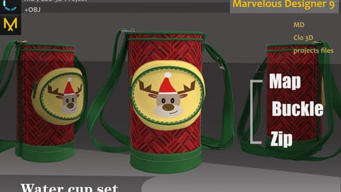 Christmas Water Bottle_Pouch_Festival Limited_Marvelous Designer & CLO 3d_ FBX, OBJ(if needed)_Xmas Gift