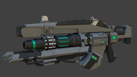 Sci-Fi Link Gun Low-poly 3D Model