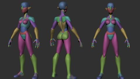 Stylized Female Elf - Base Mesh