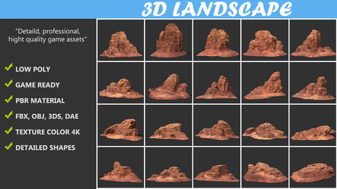 Low poly Canyon Desert Rock Pack 20200821