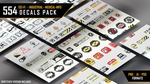 554 DECALS COLLECTION [Sci-Fi, Industrial, Medical,info, Military] -- Complete PACK --