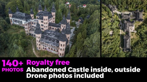 Abandoned castle inside and outside. With green grass and bushes. Drone photos included.