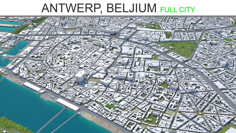 Antwerp City  Belgium 3D Model 55 km