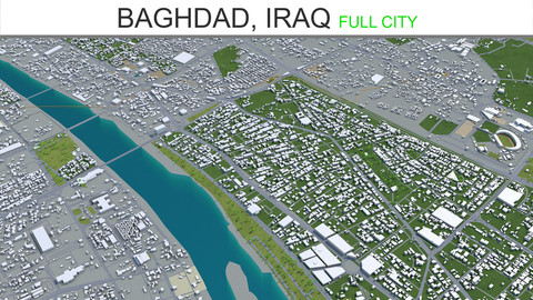 Baghdad City Iraq 3D Model 40 KM