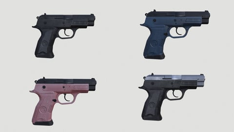 Low Poly Pistol BT2 4 Colour Modern Weapons