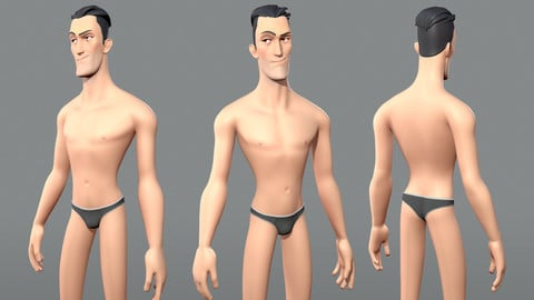 Cartoon male character Edward base mesh