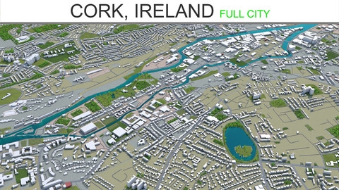 Cork City  Ireland 3D Model 30 km
