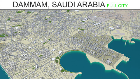 Dammam City Saudi Arabia 3D Model 70Km