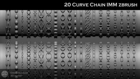 Chains 20 IMM Curve Pack Zbrush Brushes