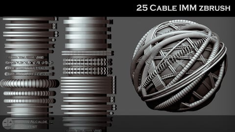 🔌 25 CABLE IMM ZBRUSH Brushes (Pack)💡