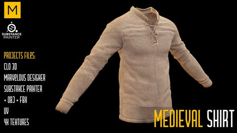Medieval Shirt. CLO 3D & Marvelous & Substance projects. FBX & OBJ. 4K Textures.