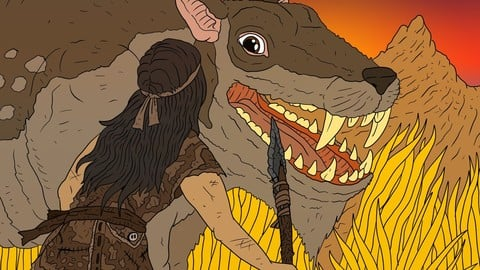 the hunt for the hell pig. prehistoric human and beast.