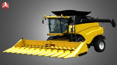 NH - CR 9070 Combine Harvester - With Corn Harvester Head 3D model