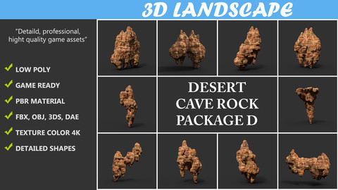 Low poly Desert Cave Modular Pack D 200828