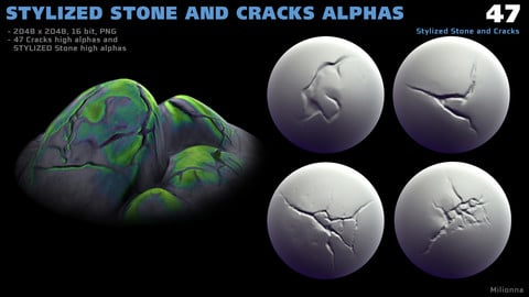 47 Stylized Stone and Cracks Alphas (ZBrush, PNG, VDM brush)