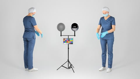 Surgical female doctor in blue uniform working 221
