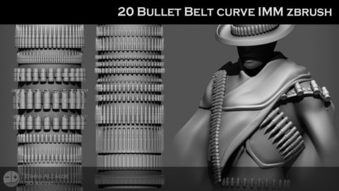 20 Bullet Belt Curve IMM Zbrush Brushes