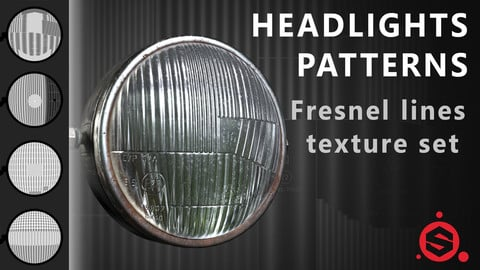 Set of Fresnel stripes patterns for headlights. [Substance Painter]