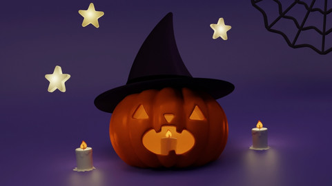 Halloween (pumpkin, witch's hat, candle, star, spider web)