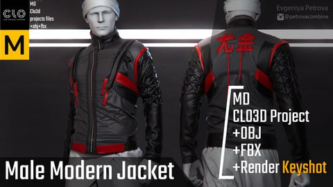 Male Modern Jacket. Clo3d, Marvelous Designer Project+FBX+OBJ+Render file (Keyshot)