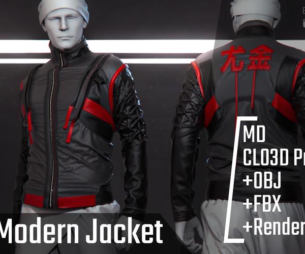ArtStation - Male Modern Jacket. Clo3d, Marvelous Designer Project+FBX+OBJ+Render file (Keyshot) | Resources