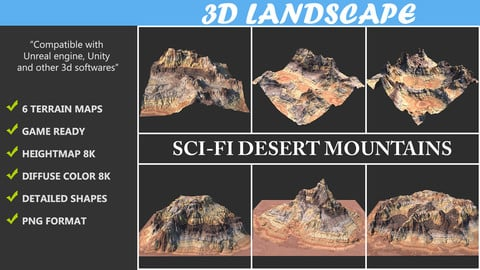 Terrain Maps - 06 Sci-fi Desert Mountains Package