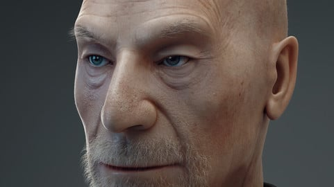 old man portrait 3d model
