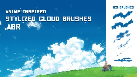 Anime/Ghibli inspired cloud brushes for Photoshop