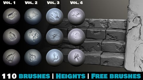 Zbrush - Stone and Rock Damage Brushes